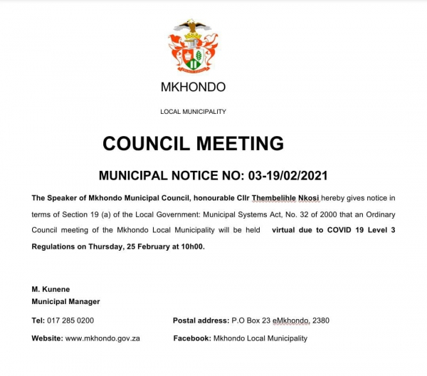 COUNCIL MEETING - MUNICIPAL NOTICE NO: 03-19/02/2021